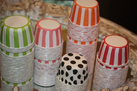 50 Stripe & Polka Dot Candy Cups, Cupcake Liners, Nut Cups