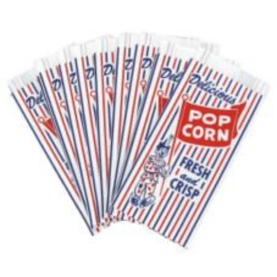 100 Clown and Stripe Retro Style Circus Popcorn Bags
