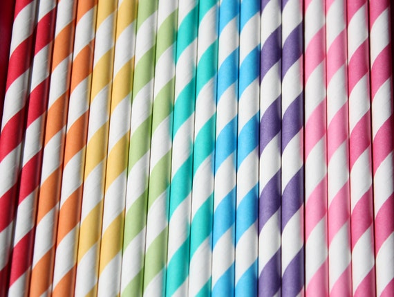 100 Paper Straws - Rainbow Mix with DIY flags