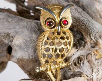 Vintage Avon Owl Brooch