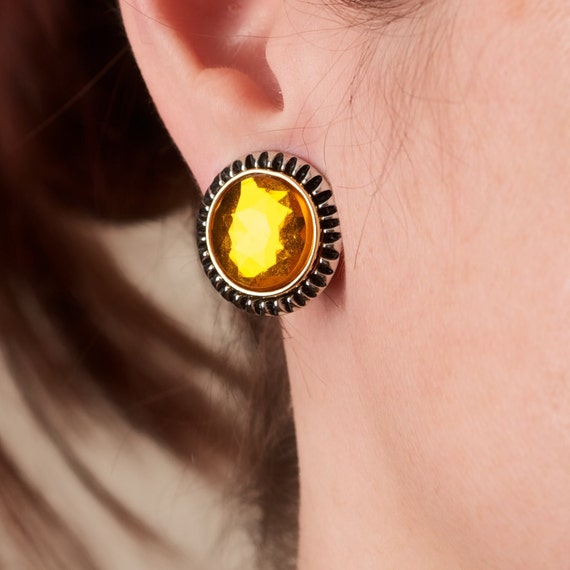 RESERVED Amber Colored Clip Earrings with Pretty Metal Jacket