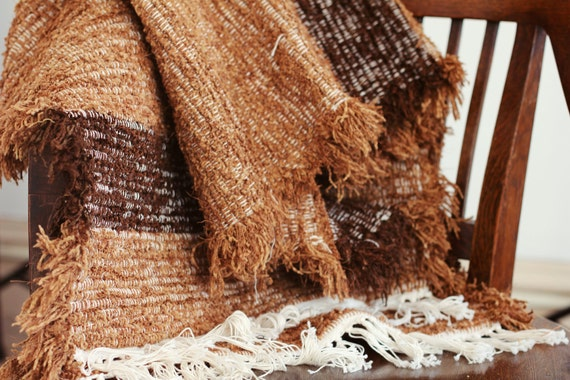 Rectangular Amish Hand Woven Rag Rug Runner in Brown