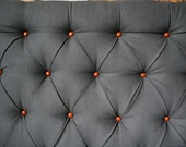 Grey Diamond-Tufted Headboard with Tan Leather Football Buttons