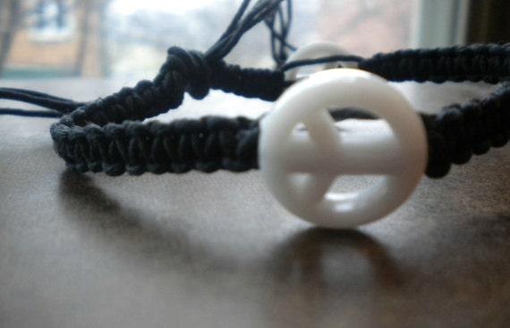 Black Hemp bracelet with White Peace Beads