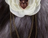 Gothic Lolita - White Flower Hair Clip w Skull and Bronze Draping Chains, Psychobilly, Elegant, Nana Goth, Visual Kei