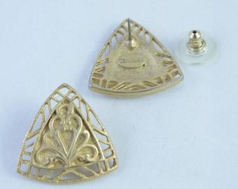 Vintage Signed Art Deco Filigree Rosecraft Gold Tone Pierced Earrings