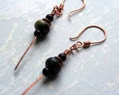 Copper Earrings, Dragons Blood Jasper Stones, Handmade Ear Wires