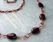 Long Copper Necklace, Red Stone Beads, Handmade Chain, Handmade Clasp