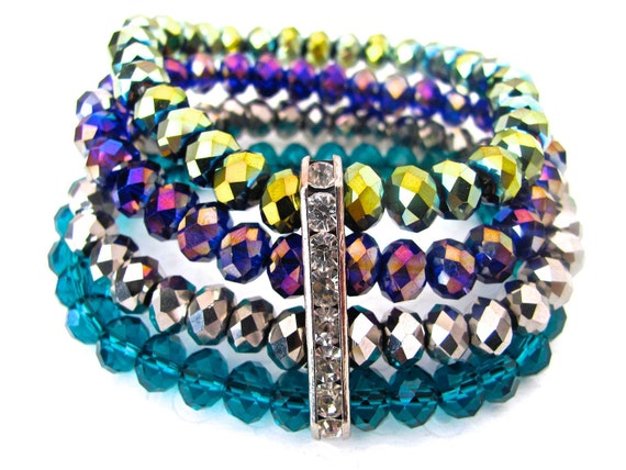Multicolored Bracelet, Colorful, Stretch, Green, Purple, Silver, Blue, Multi-strand, Rainbow, Sparkly, Colorful Jewelry, Gifts under 25