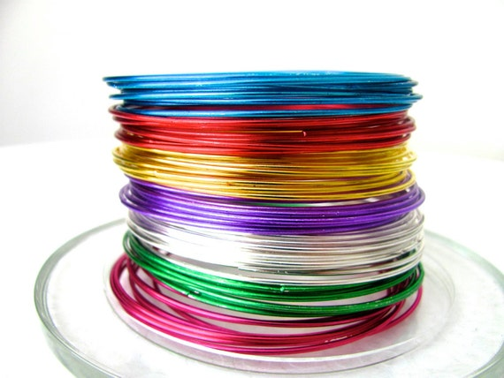 20 Metal Bangles in the color of your choice- Blue, Red, Gold, Purple, Silver, Green, Pink, Shiny Bangles, Colorful, Multicolored, Spring