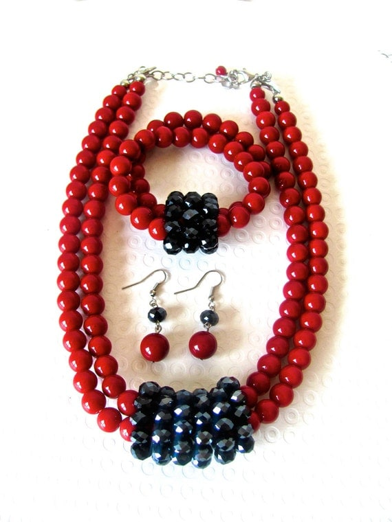 Red Black Necklace, Red Coral Beads, Black Crystal, Red and Black, Necklace and Earrings, Earrings and Bracelet Set