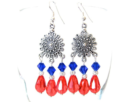 Red and Blue Earrings, Chandelier Earrings, Swarovski Earrings, Crystal Earrings, Red Blue White, 4th of July, Independence Day