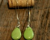 green or pink large turquoise dangle earrings