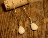 White turquoise tear drop dangle earrings
