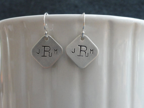 """Monogrammed, custom, hand-stamped sterling silver earrings, 1/2"""" (rounded) square"""