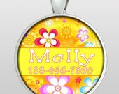 Custom Pet ID Tag - Dog Tag - Cat ID Tag - Dog Name Tag - Cat Name Tag - Custom Name & Phone Number - Retro Mod Flowers - Design No. 156