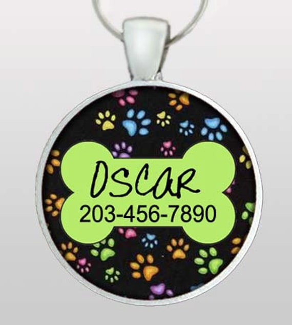 Custom Pet ID Tag - Dog Name ID Tag - Custom name & phone number. Lime green dog bone with multi colored paws. Design No. 124