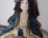 "Beautiful Handmade 31"" Downton Abbey Inspired Cloth Rag Doll with Velvet Coat and Hat"