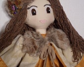 "Beautiful Handmade 31"" Russian Princess Cloth Rag Doll with a Fur Trimmed Coat and Jewelled Hat"