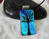 Hand Etched Dichroic Fused Glass Pendant - Tree of Life