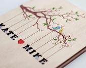 "Custom Wedding guest book wood rustic wedding guest book album bridal shower engagement anniversary- ""Love Birds, Tree"" - Hand painted"