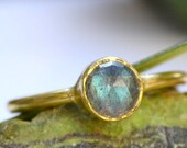 Natural Labradorite Gold Ring-Labradorite Ring - Blue Labradorite - Stacking Rings-30-50% OFF Sale-Free Shipping