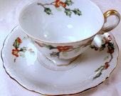 UCAGCO Japan Tea Cup and Saucer - Holly Berries and Leaves - Gold Gilding