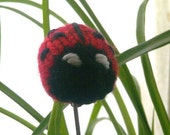 Knitted Ladybug Plant decoration