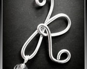 """Letter """"K"""", Monograms,silver or Gold, Initials for Wedding Bouquets, Boutonnieres, Bouquet Jewelry, Swarovski Crystal, Bouquet Bling"""