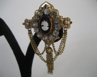Gorgeous Coro Cameo Brooch with Rhinestones