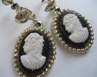Dangling Vintage Cameo Earrings