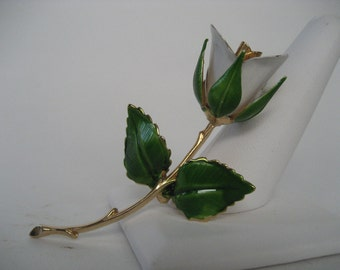 Delicate Giovanni Rose Brooch in Green, White, and Gold