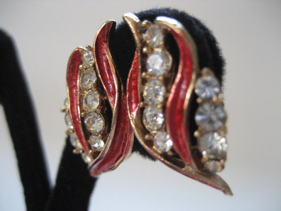 Fancy Red Enamel and Rhinestone Earrings