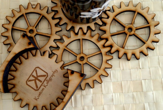 Steampunk Gears Unique Wood Coasters for the Mechanically Inclined