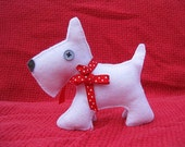 Hand Stitched White Felt Dog