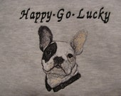 "Embroidered ""French Bulldog"" Hoodie Sweatshirt"