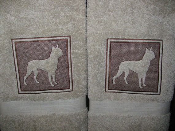 """Embroidered (embossed) """"Boston Terrier"""" Bath Towels"""