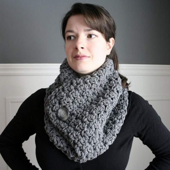 Crocheted Cowl Neck Scarf in Charcoal Grey with grey and black button