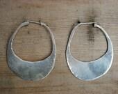 Distressed Silver Hoops -medium