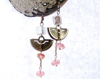 Pearl Dichroic Cube beads Old Watch parts with Pink Crystals Dangle Earrings