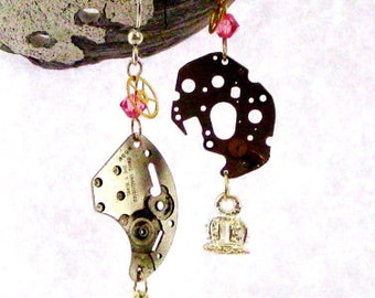 SaLe Queen Pink Crystal Old Watch Parts dangle steam punk earrings