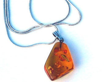Real Artisan Honey Baltic Amber faceted freeform Pendant with 925 Chain