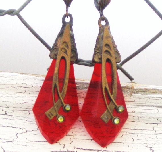 Victorian Red Russian Cezh Glass Modern Art Vintage Dangle Earrings