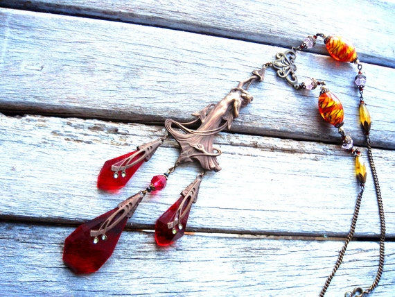 Long Lost Lady Vintage Victorian Red Russian Czech Glass Modern Art Necklace