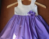 End of Summer Sale Toddler Dress with Matching Headband - Dainty Dots Lilac and Cream MADE TO ORDER