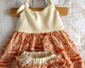 Baby Dress with Bloomers (Itty Bitty Dress Ivory and Orange Paisley)