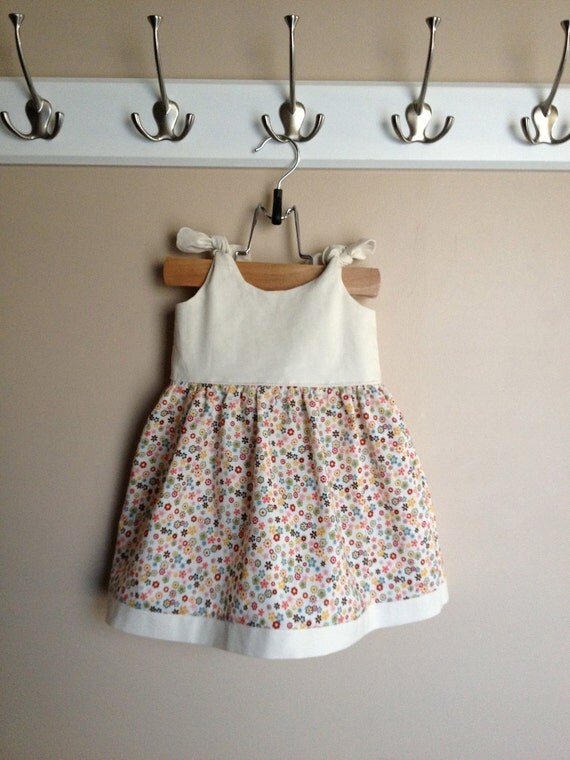 Baby Dress with Bloomers Made To Order (Itty Bitty Dress in Ivory and Floral)