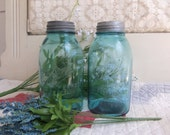 2 Antique Aqua Mason Jars Half Gallon with Offset Embossing Chips on Lip B688