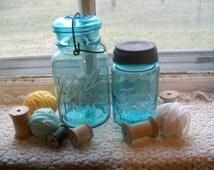 2 Vintage Blue Mason Jars Quart and Pint Sized Lids Included