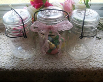 3 Vintage Pint Sized Canning Jars with Wire Bails and Glass Lids Lot or Set